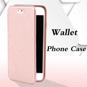 Electroplating TPU Wallet Flip Leather Mobile Phone Case with Card Porket for iPhone 6 6splus (XSQB-002)