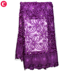 New Arrival Purple Tulle Embroidery Lace Fabric pictures & photos
