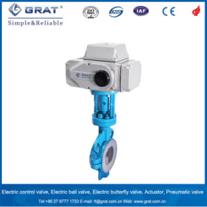 Chemical Medium Control Electric Butterfly Valve with Fluorine Lined pictures & photos