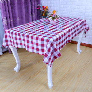 Polyester White Red Scotland Grid Table Cloth (DPF107100) pictures & photos