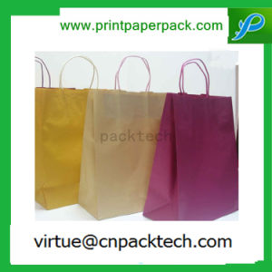 New Design Brown Whole Color Paper Gift Gable Bag with Twisted Handle pictures & photos