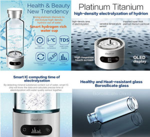 Smart Glass Cup Free Hydrogen Portable Water Bottle with APP pictures & photos
