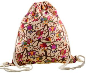 Fashion Printed Cute Girl′s Backpacks Women′s Lady Travel Shopping Drawstring Bag