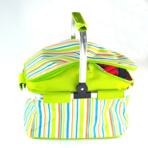 Good Quality Collapsible Picnic Shopping Basket with Aluminium Handle pictures & photos