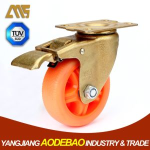 Light Duty Golden Plating Brake TPR Caster Wheel pictures & photos