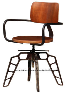 Industrial Metal Restaurant Dining Furniture Gunmetal Plywood Wooden Swivel Chairs pictures & photos