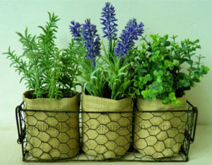 Artificial Mixed Herbs in Flax Bag/Paper Pot with Metal Stand for Home/Office Decoration