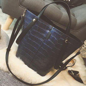 2017 Big Size Tote Handbag Ladies Crocodile Pattern Handbags 2PCS/Set Sy7897 pictures & photos