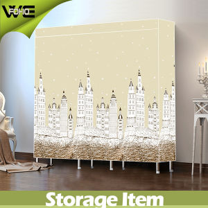 Childrens Closet Bedroom Furniture Canvas Double Fabric Wardrobe pictures & photos