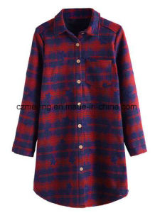 Two Color Women`S Polyester Long Shirt