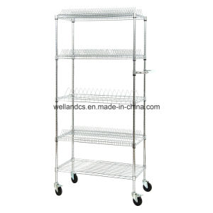 Adjustable 5 Tiers Carbon Steel Wire Mesh Industrial Anti-Static Utility Cart for Storage pictures & photos