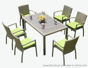 Patio Rattan Wicker Grey Polywood Outdoor Dining Table and Chairs Outdoor Garden Furniture pictures & photos