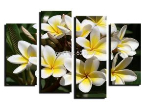 Beautiful Flower Designs Fabric Painting 4 Panel Living Room Wall Art Flower Canvas Prints Framed Printed Oil Painting on Canvas