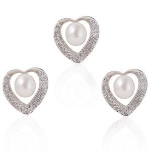 Silver Pearl Jewelry Set, Pearl Wedding Jewelry