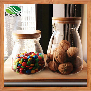 Glass Sealed Storage Jar Sugar Pot with Bamboo Lid pictures & photos