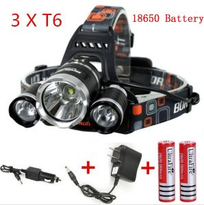 3 Head CREE T6 LED Rechargeable Headlamp pictures & photos