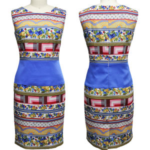 Latest Porcelain Flower Printed Dress for Ladies (1-126-20)