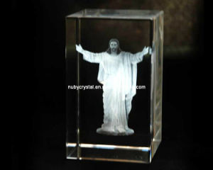 Jesus Laser Engraved in Crystal Cube for Christian Souvenir Gift pictures & photos