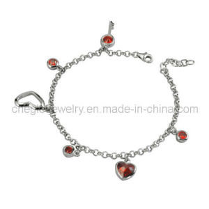 Fashion 925 Sterling Silver Crystal Bracelet Jewelry (B010658)