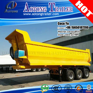 Double Axis 35tons Sand Transporting Rear Tipping Semi Trailer pictures & photos