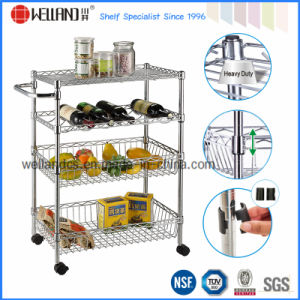 Multifunction Adjustable Metal Metallic Wire Mesh Basket Food Trolley Cart pictures & photos