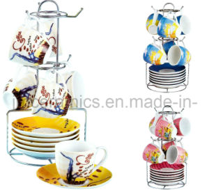 Porcelain 6 Sets Coffee Cup and Saucer with Metal Holder pictures & photos