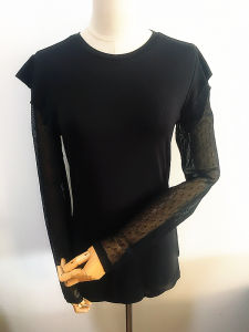 Women Fashion Clothing Lotus Leaf Sleeve Black Clothes pictures & photos