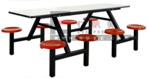 Factory Sell Yellow Rectangular 8-Seater School Dining Table Set with Steel Frame Furniture Dt-06 pictures & photos