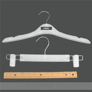 Frozen White Plastic Clothes Hanger with White Adjustable Clips Bottom Coat Hanger pictures & photos