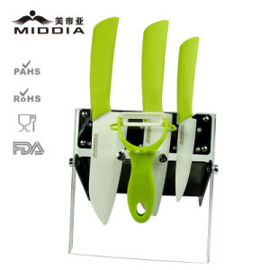 Kitchen Hardware Ceramic Knife & Peeler Set with Holder pictures & photos