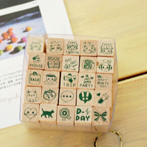 Wooden Rubber Stamp Box-Vintage Print Style Diary Stamps 25 PCS Stamp Pattern -Originality Stationery pictures & photos
