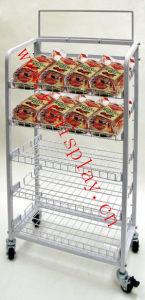 5 Tiers Flooring Food Display Shelf / Snacks Display Shelves with Wheel