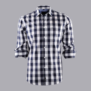 100% Cotton/Check/ Leisure/Men′s Long Sleeve Shirt/Men′s Shirt