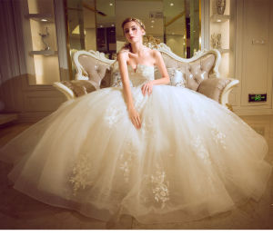 New Style Floor-Length Sheath Deep V-Neck Cap Sleeves Sweep Train Lace Purple and White Wedding Dresses with Detachable Sash (ED10021) pictures & photos