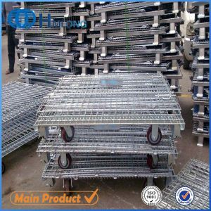 Rolling Folding Stackable Wire Mesh Container with Caster pictures & photos