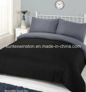 100% Polyester Reversible Dyed Duvet Cover Sets pictures & photos