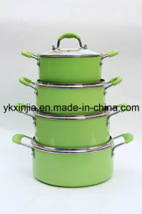 Kitchenware 8PCS Aluminum Non-Stick Sauce Pot Set with Glass Lid pictures & photos