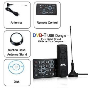 USB DVB-T HD TV Tuner Stick with FM/DAB/DAB+ Radio Dongle Freeview Digital TV on PC Support Pre-Set Recording Playback Remote Control