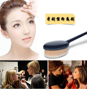 Bendable Toothbrush Makeup Brush Oval Brown Professional Foundation Brush pictures & photos