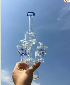 Glass Water Smoking Pipe with Recycler Oil Rigs and Multi Ice Pinches pictures & photos