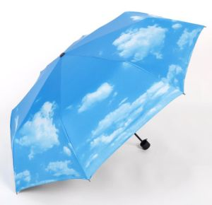 UV Protection 3 Folds Full Printing Blue Sky Umbrella with Digital Print pictures & photos