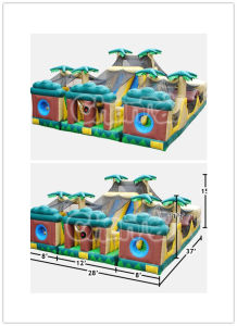 Tropical Themed 3 Piece Obstacle/High Quality Inflatable Obstacle Course Bb030 pictures & photos