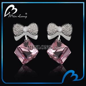 Cubic Shape Zircon Gemsstone Platinum Plating Stud Earring (ED-1275)
