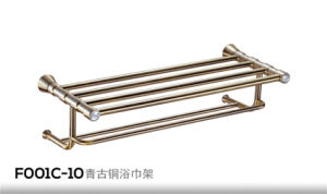 Brass Towel Rack / Towel Bar with Double Hook (F001C) pictures & photos