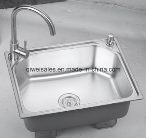Stainless Steel Handmade Kitchen Sink with Soap Container (QW-A6045) pictures & photos