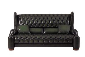 Green Wipe off Leather Classic Antique Chesterfield Leather Sofa Set pictures & photos