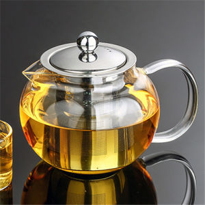 High Alkali Resistance 600ml Glass Teapot with Infuser