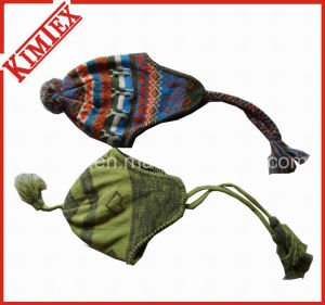 Hot Sales Jacquard Earflap POM POM Hat with Braid pictures & photos