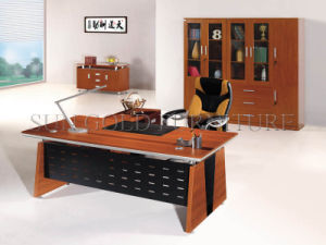 Modern Two Layer Executive Desk with Iron Back Board (SZ-OD008) pictures & photos