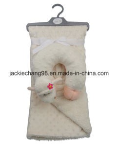 Embossed Micro Mink Baby Blanket with Animal Shape Pillow pictures & photos